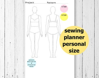 Personal Sewing Planner Printable, Sewing Journal, Filofax Personal Planner, Seamstress Gifts, Printable Personal Planner Inserts, PDF