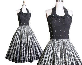 1950s Mexican Halter Dress with Sequins