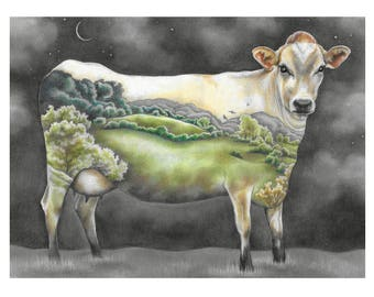 """Cow Art Print, limited edition - """"Mother of us All"""""""