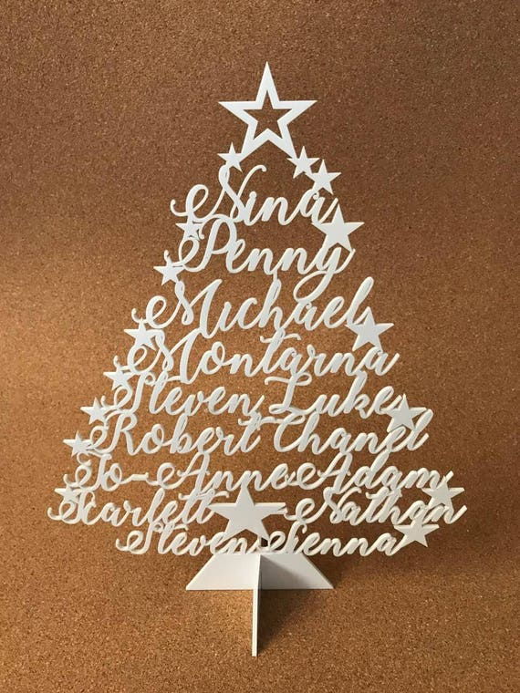 Personalized Christmas Family Name Tree Ornament Laser Cut Names Xmas Tree Plaque Freestanding Custom sign Family Names Christmas Decoration