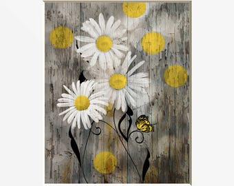 Farmhouse Wall Decor, Daisy Flowers, Butterflies. Yellow Brown Rustic Modern Yellow Brown Home Decor Matted Picture