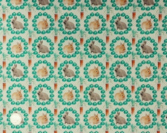 Stof France Petit Lapin 9001 1 Rabbits and Carrots on Green 100% Cotton Patchwork/ Dressmaking Craft Fabric