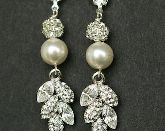 Vintage Style Bridal Earrings, Long Filigree Leaf Rhinestone & Pearl Wedding Earrings, Old Hollywood Bridal Jewelry, EVA