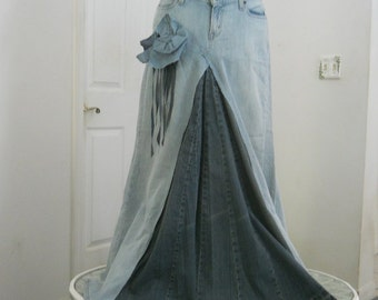 Belle Bohémienne bohemian ballroom jean skirt  Renaissance Denim Couture fairy goddess mermaid altered couture Made to Order