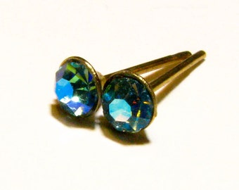 Aqua Aura Petite Rhinestone Post Earrings - Small Gold Tone Hypoallergenic Studs w/ Aquamarine Blue Crystal  Rhinestones