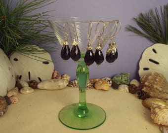 Natural African Amethyst Teardrops in Silver