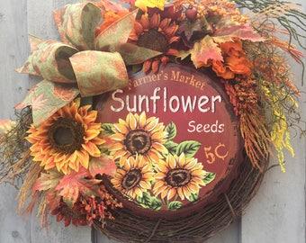 Fall Rustic sunflower front door wreath, fall sunflower wreaths, fall wreaths for front door, fall wreaths with signs, rustic fall wreath
