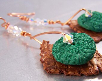 Gold Polymer Clay Shard Earrings