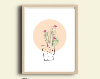 Succulent art print, succulent PRINTABLE illustration, poster, floral print, home wall decor, gift, modern, minimal, simple, peach, circle