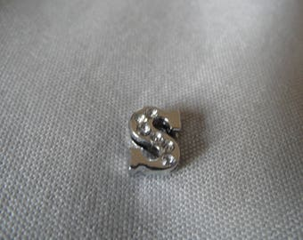 Width beads letter S with Rhinestones