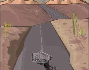 Abandonment, empty shopping cart on highway.