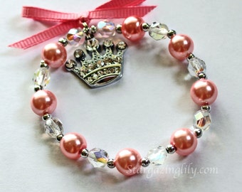 Pink Pearl and crystal bracelet for little girls Rhinestone crown or tiara charm Shiny Bling Perfect Princess Gift YOU CHOOSE COLOR