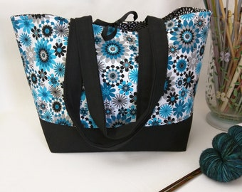 Tie-Top Totes -  Turquoise Mod Floral with Padded Organizer Pocket