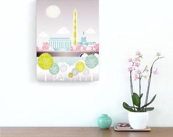 Washington DC Wall Art Canvas Framed Skyline Print, Congress, Lincoln Memorial, Illustration, Home decor, Office and Nursery, Style: WCWA01