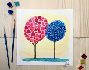 Painting with trees, watercolor original painting in red and blue, red and blue decoration, gift for beloved person, wall decoration