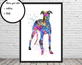 Whippet, Whippet art, Whippet dog, Whippet print, watercolor Whippet, watercolor art print, home decor, watercolor dog