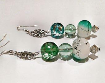 White and Teal Dangle Earrings - White and Teal Glass Beaded Earrings - Spring Earrings - Teal Splashed Glass Earrings