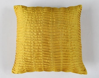 Mustard yellow pillow. pintuck pillow. Pleated textured cover yellow throw pillow. 18inch decorative  pillow