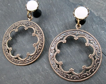 Dangle Plugs - 10g - 8g - 6g - 4g - 2g - 0g - Tribal Gauges - Gothic Plugs - Antiqued Brass - Gothic Jewelry
