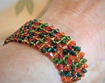 Orange Green Red Swarovski Bicone Gold Delica Elegant Cuff Handwoven Bracelet