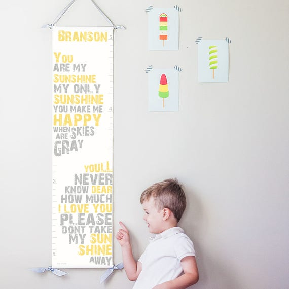 Personalized You Are My Sunshine canvas growth chart in yellow and gray
