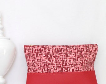 Clutch / Oversize Clutch Bag /  Fold over Clutch Bag / Clutch Purse / Evening Bag /  Red  Faux Leather
