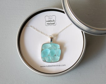 Sea Glass & Silver Mosaic Necklace - Aqua