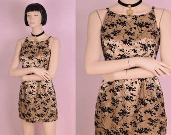 90s Champagne and Black Flocked Floral Print Dress/ US 5/ 1990s