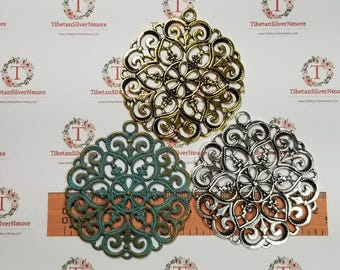 2 pcs per pack of 60mm Large Filigree Pendant color to choose Lead free Pewter