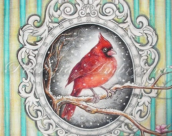 "8""x 8"" Handpainted art block on wood - """" frame with red cardinal"""" - ORIGINAL Painting"