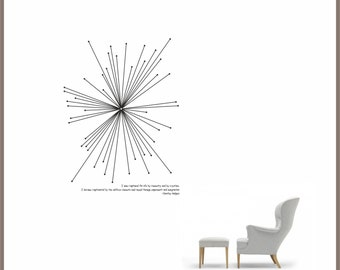 Science art - women in science chemistry - Dorothy Hodgkin inspirational quote and abstract geometric structure of a crystal wall decal