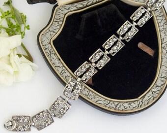Vintage Silver Flower Bracelet | Sterling Silver Flower Link Bracelet