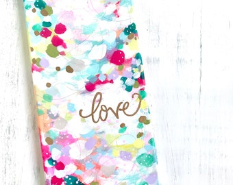 "Original ""Love"" painting with Gold Accents / Gold Calligraphy / Unique, colorful home decor / 8x16 inch original canvas / Inspirational"