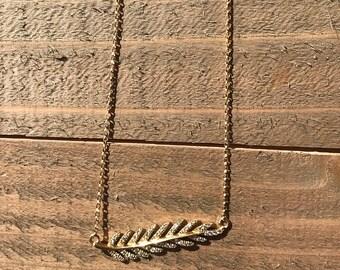 14k Sideways Diamond Leaf Necklace