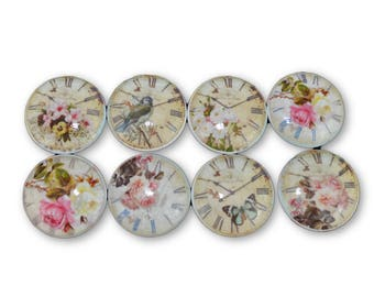 Set of 8 Cream Shabby Floral Clock Face Cabinet Knobs