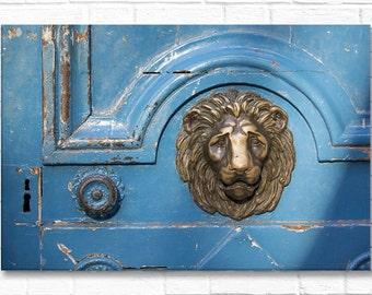 Paris Photograph on Canvas - Blue Door with Lion, Gallery Wrapped Canvas, Ornate Door Knocker,  Architecture Photograph, Urban Decor