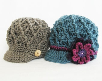CROCHET PATTERN - Diamond Cap - 5 sizes PDF baby cap newborn baby girl baby boy brim hat