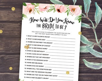 Floral Bridal Shower Games, How Well Do You Know the Bride to Be, Who Knows the Bride Best, Rustic Peonies, Blush and Mint, Download
