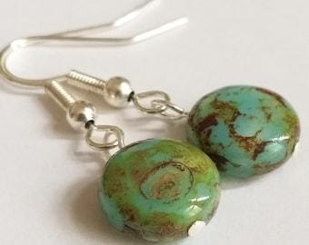 Czech Glass Picasso Earrings -  Green Turquoise Bead Earrings - Boho Earrings - Silver Plated Earrings - Rustic Earrings - Unusual Earrings