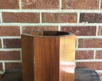 Vintage solid wood geometric planter, large wood planter, solid wood planter, boho planter, jungalow planter
