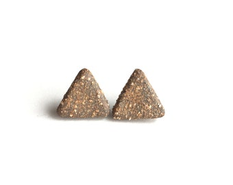 FREE SHIPPING rustic rugged stoneware ceramic triangle stud earrings