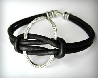 Knotted Leather Bracelet, Black Leather, Sterling Silver Oval Bracelet, Harmony, Friendship Bracelet, Valentines gift, gift for woman