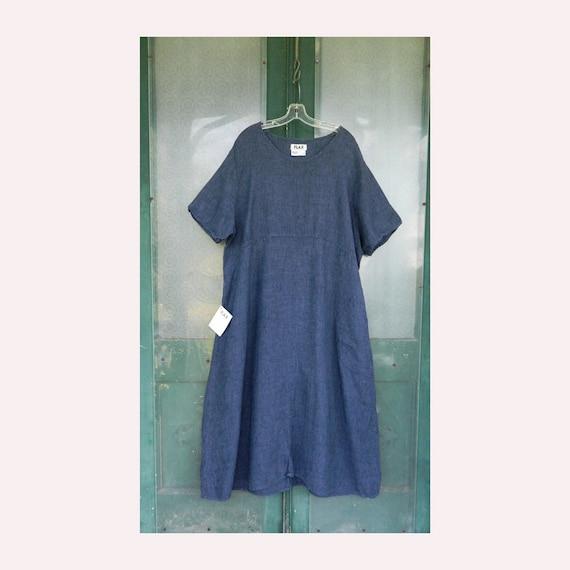 FLAX Engelheart Short Sleeve Dress -2G/2X- Indigo Linen NWT