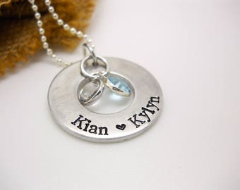Personalized necklace for Mom, Mother's Personalized necklace, hand stamped Kids Names necklace, custom jewelry, Mother's Day gift for mom