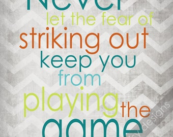 Baseball Quote, Never Let the Fear of Striking Out Print, Digital Sports Art, Digital Wall Art for Kids Bedroom, Sports Art for Children