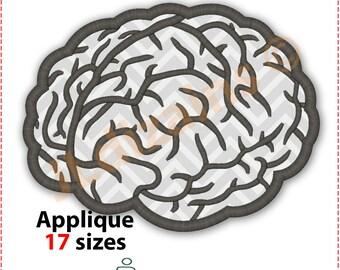 Gehirn Applique Design. 17 Größen eingeschlossen. Maschinenstickerei. Gehirn Stickerei Design. Applikationsdesign. Stickerei-Design. BX