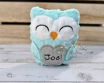 Personalized Owl Stuffed Animal Owl-Personalized Stuffed Owl-Plush Owl-Aqua-Turquoise-Gray-Cuddly Owl-Owl Stuffed Toy-Owl Nursery