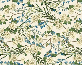 Arbor Flowers, Peacock Arbor, Blue Floral Print, 100% Quilting Cotton by David Textiles, by the half yard