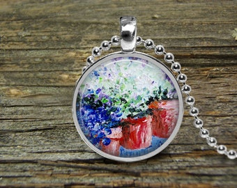 Necklace Hydrangeas-Original Oil Painting-Free Shipping-Silver Pendant Necklace-Wedding-Bride-Mothers Day Gift-Mother Bride-Girlfriend-Woman