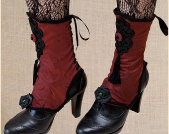 "Black Chinese Applique Red taffetas Victorian Spats ""Cancan"" Black Braid Gimp Onyx Jade"